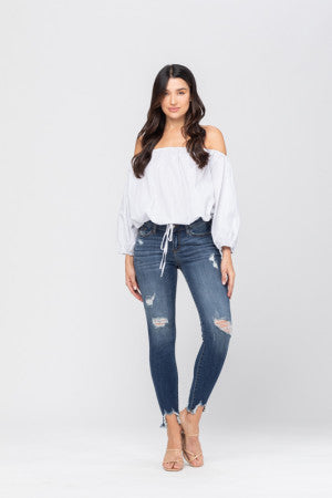Judy Blue Destroyed Hem Skinny Jeans