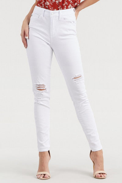 Judy Blue White High Waist Knee Distressed Skinnies