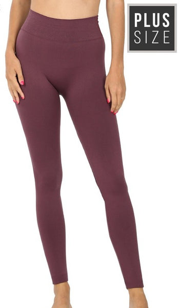 Top Of The World Ribbed Fleece Leggings (regular and plus size)
