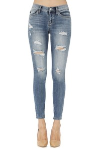 Judy Blue Mid-Rise Destroyed Skinnies