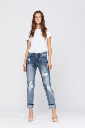 Judy Blue Destroyed Bleach Splatter Boyfriend Jean