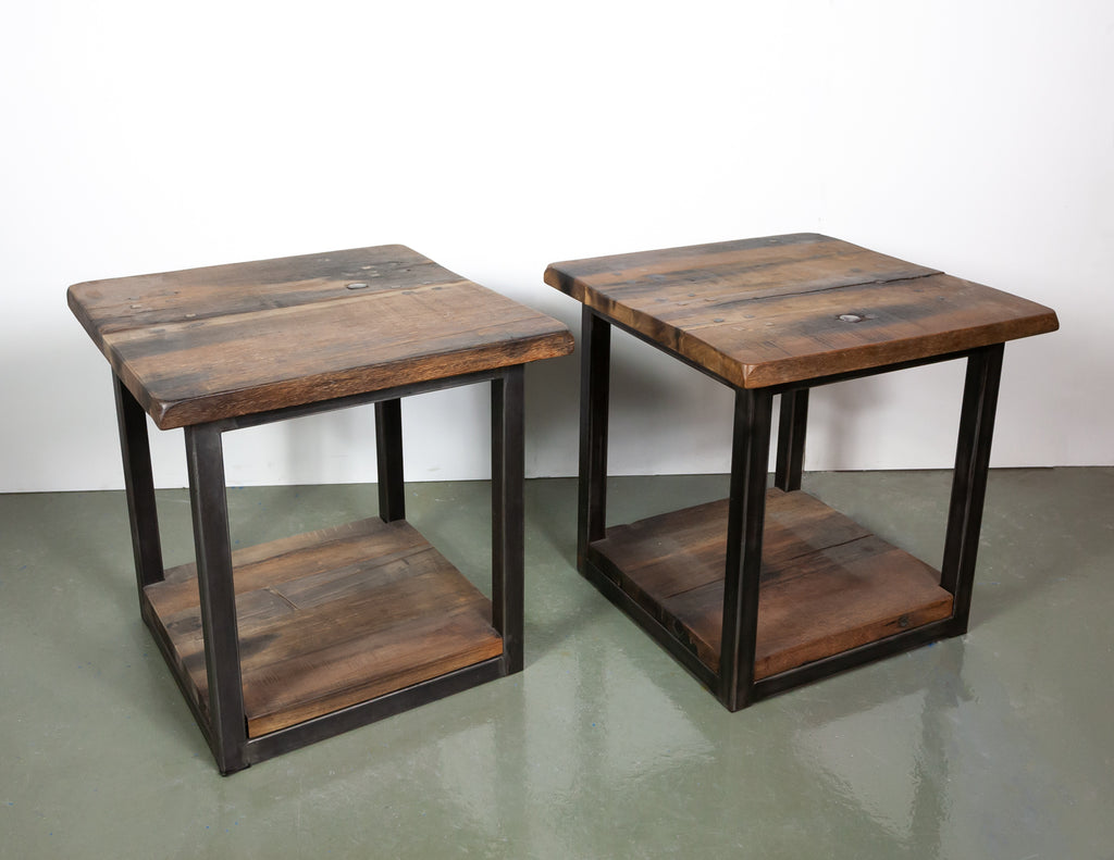 Timothy Oulton Reclaimed Wood Side Tables (2 units)