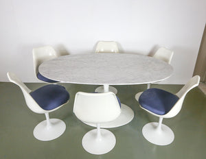 Oval Dining Table with 6 Swivel Chairs