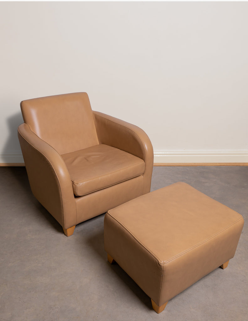 Armchair - Leather Armchair & Matching Footstool - Purchased At Heal's