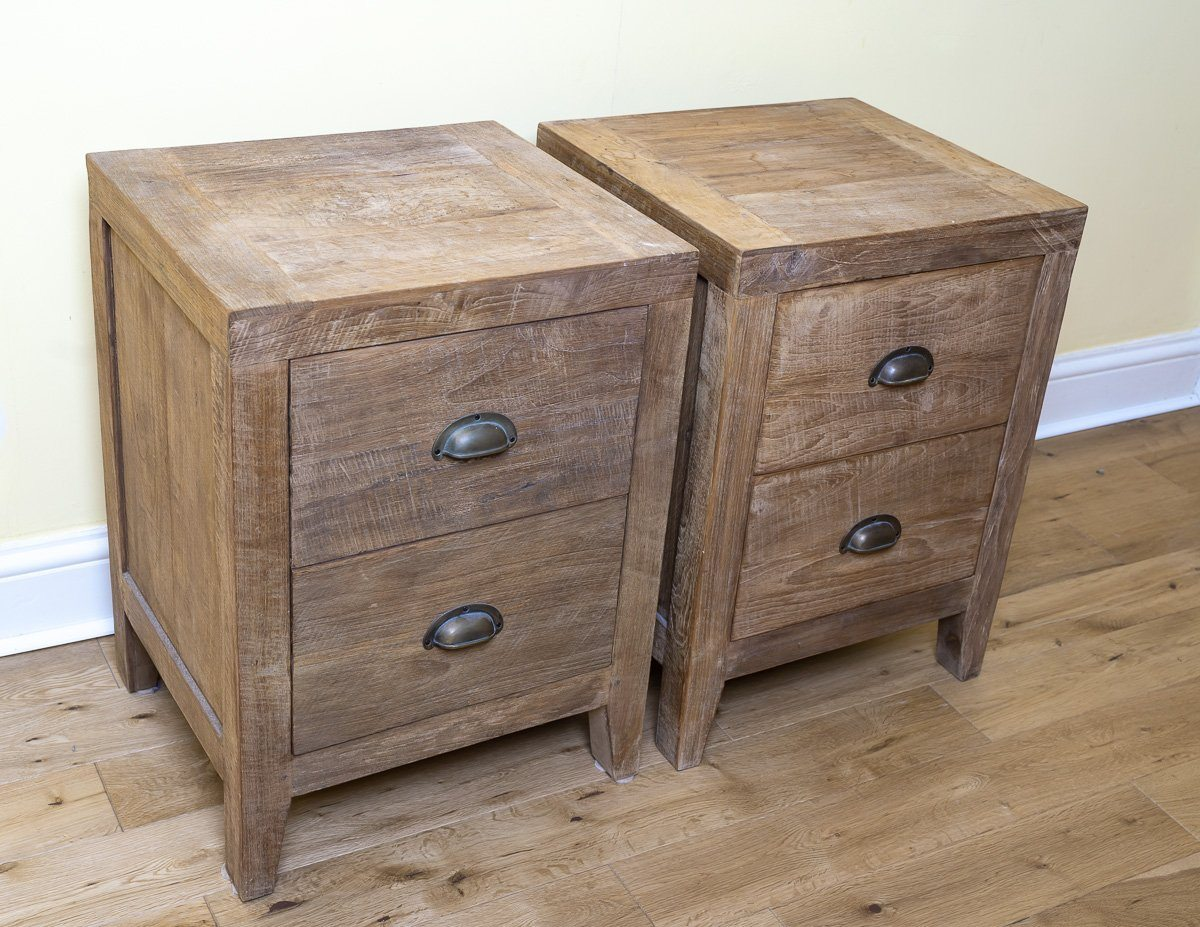 Bedside Tables - Timeless And Unique Lombok Sumatra 2-Drawer Bedside Tables (2 Units)