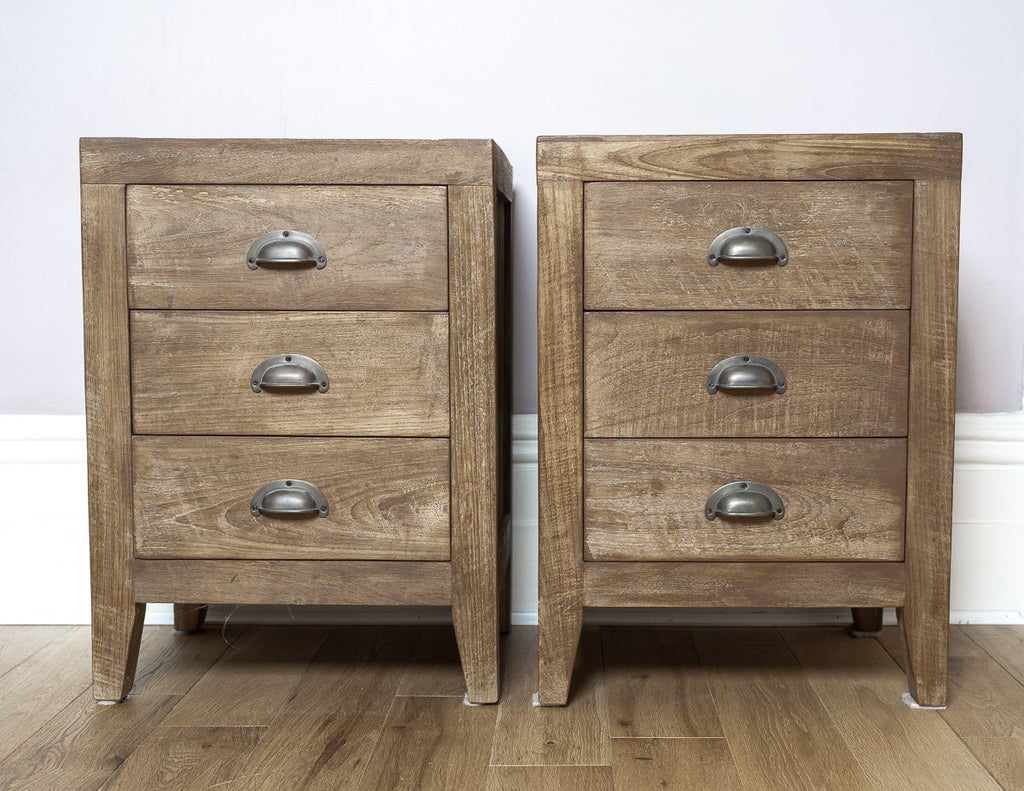 Bedside Tables - Timeless And Unique Lombok Sumatra 3-Drawer Bedside Tables (4 Units)