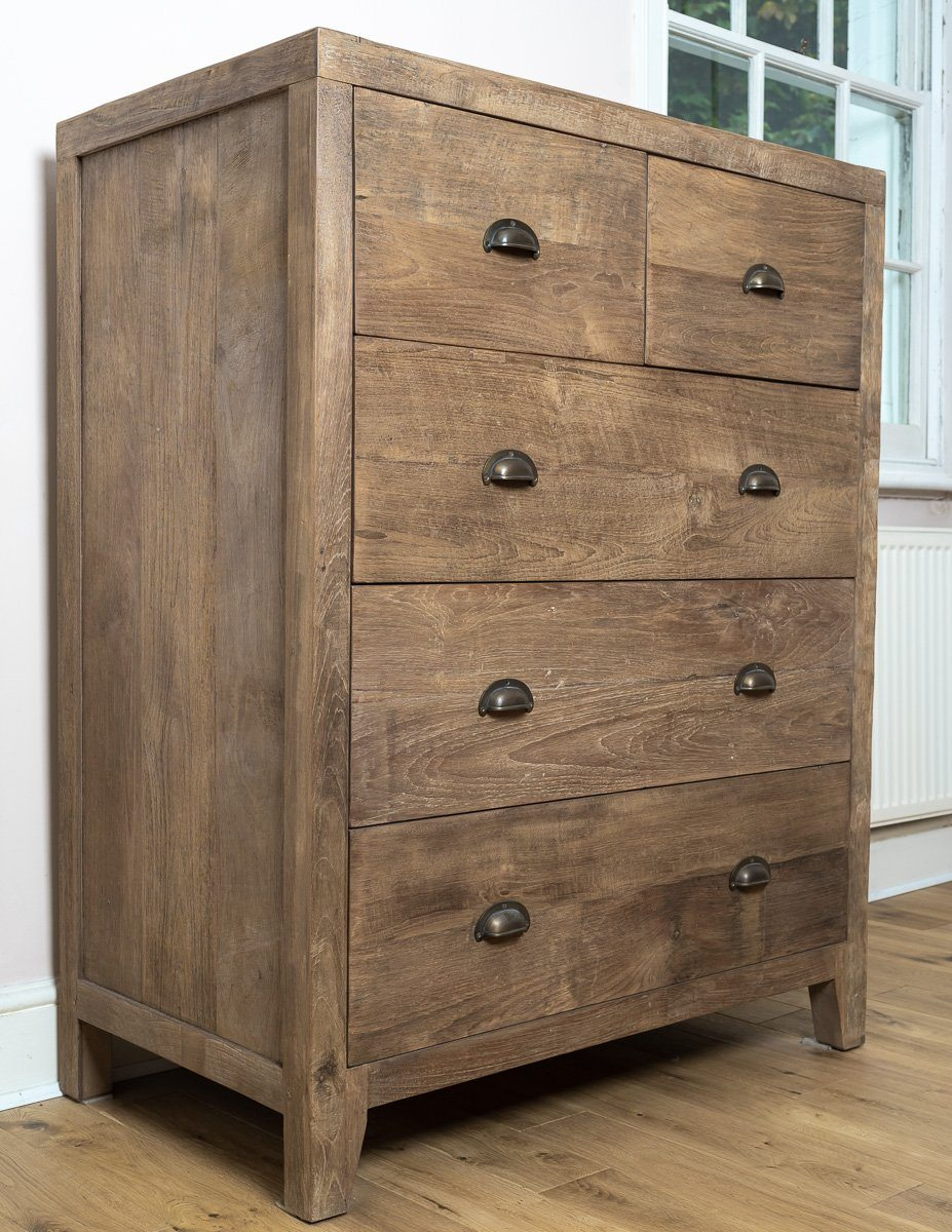 Chest Of Drawers - Timeless And Unique Lombok Sumatra 5-Drawer Chest Of Drawers (2 Units)