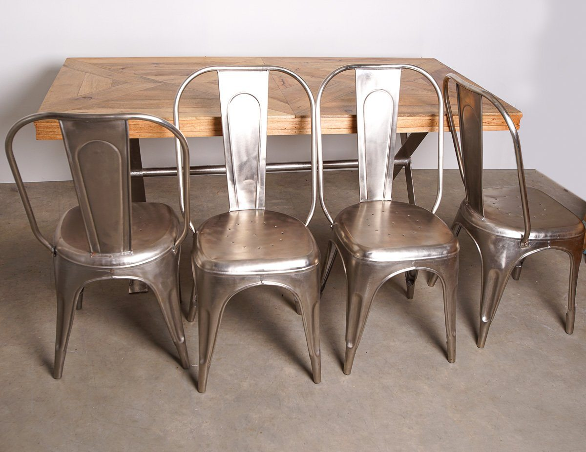 Dining Table & Chairs - Lombok Artisan Cross Leg Mango Wood Dining Table & Metal Chairs