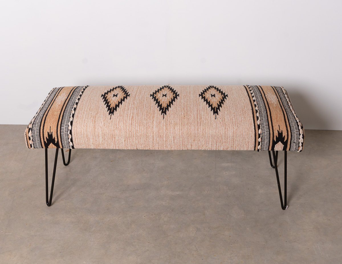 Ottoman - Boho Chic Forest And Co Woven Style Bench With Bent Metal Legs