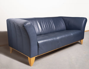 Sofa - IKEA Custom Dark Blue Leather 3-seater 'Winged' Sofa