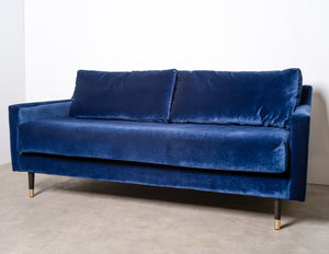 Swoon Editions Rieti Navy Velvet 2-seater Sofa