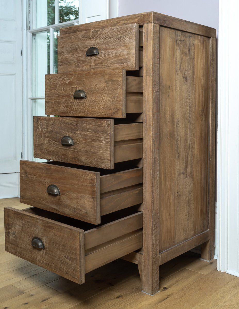 Tallboy - Beautiful And Functional Lombok Sumatra Wooden 5 Drawer Tallboy