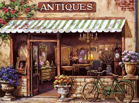 Antique Shop - Full Drill Diamond Painting - Specially ordered for you. Delivery is approximately 4 - 6 weeks.