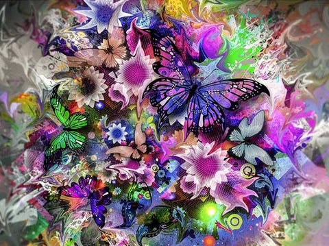 Special Order - Butterfly Frenzy- Full Drill diamond painting- Specially ordered for you. Delivery is approximately 4 - 6 weeks.