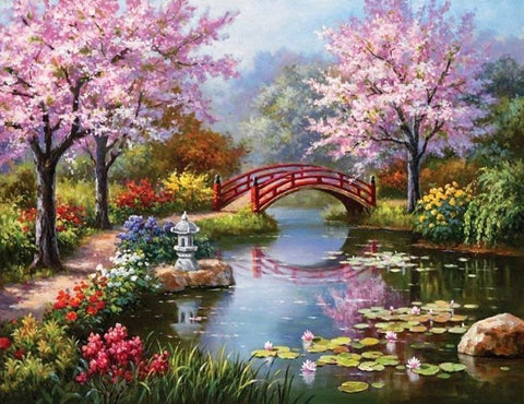 Cherry Blossom Lake - 61 x 91.5cm (poster size) Full Drill (square) Diamond Painting Kit - Currently in stock