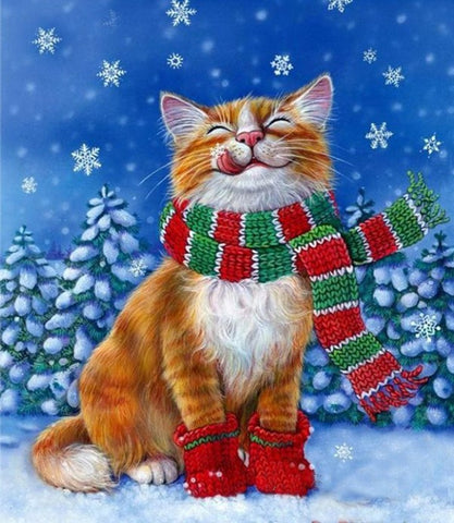 Special Order - Christmas Cat - Full Drill Diamond Painting - Specially ordered for you. Delivery is approximately 4 - 6 weeks.