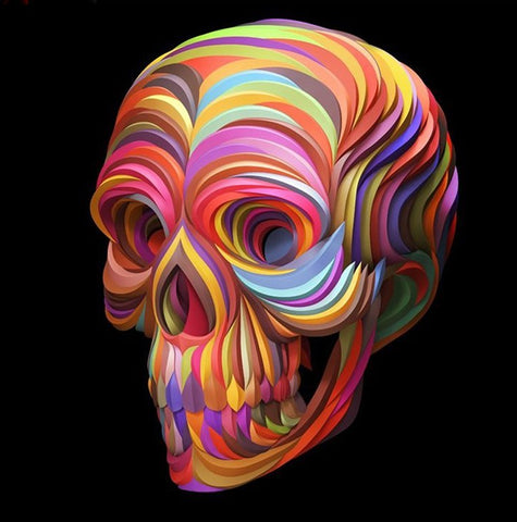 Special Order - Coloured Ribbon Skull - Full Drill Diamond Painting - Specially ordered for you. Delivery is approximately 4 - 6 weeks.