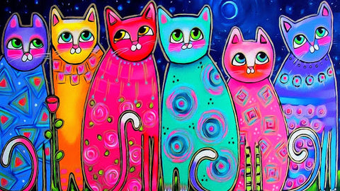 Colourful Cat 04 - Full Drill Diamond Painting - Specially ordered for you. Delivery is approximately 4 - 6 weeks.