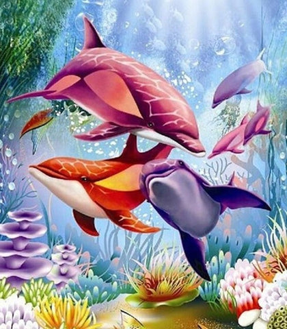 Colourful Dolphins- Full Drill Diamond Painting - Specially ordered for you. Delivery is approximately 4 - 6 weeks.