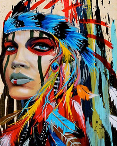 Colourful Native American - Full Drill Diamond Painting - Specially ordered for you. Delivery is approximately 4 - 6 weeks.