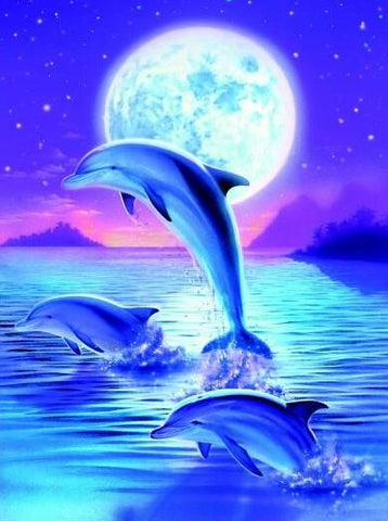 Special Order - Dolphin Trio - Full Drill diamond painting - Specially ordered for you. Delivery is approximately 4 - 6 weeks.