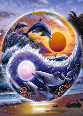 Dolphins 06- Full Drill Diamond Painting - Specially ordered for you. Delivery is approximately 4 - 6 weeks.