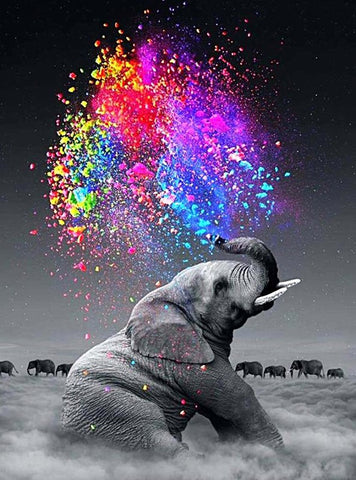 Elephant Squirting Colours- Full Drill Diamond Painting - Specially ordered for you. Delivery is approximately 4 - 6 weeks.