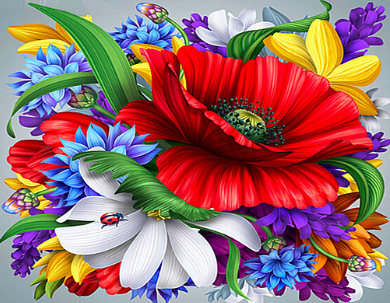 Special Order - Flowers 16 - Full Drill diamond painting - Specially ordered for you. Delivery is approximately 4 - 6 weeks.