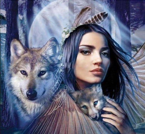Special Order - Girl with Wolves - Full Drill Diamond Painting - Specially ordered for you. Delivery is approximately 4 - 6 weeks.