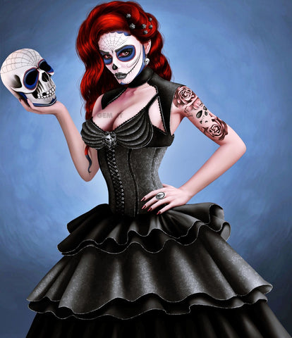 Gothic Skull Lady in Black. Full Drill Diamond Painting - Specially ordered for you. Delivery is approximately 4 - 6 weeks.