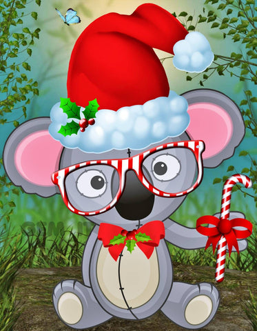 Koala Christmas Toy  with Glasses. Full Drill Diamond Painting - Specially ordered for you. Delivery is approximately 4 - 6 weeks.