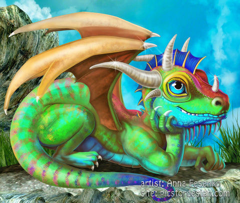 Dragon Baby Green on Cliff. Full Drill Diamond Painting - Specially ordered for you. Delivery is approximately 4 - 6 weeks.