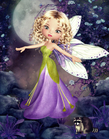 Petal Fairy Purple.  Full Drill Diamond Painting - Specially ordered for you. Delivery is approximately 4 - 6 weeks.