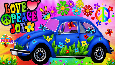 Peace Car Beetle Blue.  Full Drill Diamond Painting - Specially ordered for you. Delivery is approximately 4 - 6 weeks.