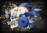 Floral Skull.  Full Drill Diamond Painting - Specially ordered for you. Delivery is approximately 4 - 6 weeks.