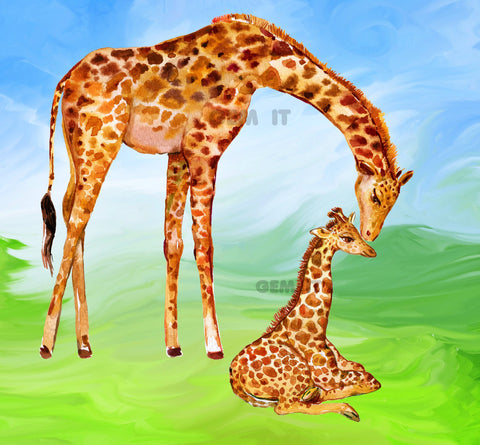 Giraffe Mother and Baby . Full Drill Diamond Painting - Specially ordered for you. Delivery is approximately 4 - 6 weeks.