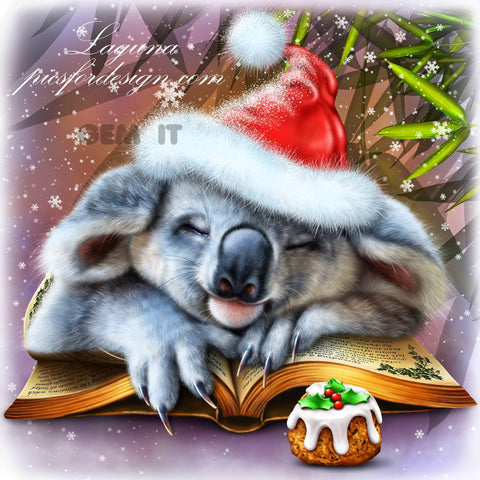Koala Christmas Sleep. Full Drill Diamond Painting - Specially ordered for you. Delivery is approximately 4 - 6 weeks.