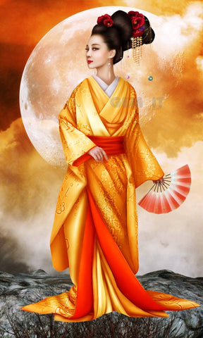 Geisha Moon. Full Drill Diamond Painting - Specially ordered for you. Delivery is approximately 4 - 6 weeks.