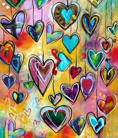 Hanging Hearts - 30 x 40cm Full Drill (round) Diamond Painting Kit - Currently in stock