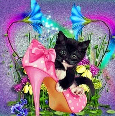 Special Order - Kitten in Shoe - Full Drill Diamond Painting - Specially ordered for you. Delivery is approximately 4 - 6 weeks.