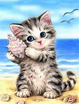 Kitten On Beach -  Full Drill Diamond Painting - Specially ordered for you. Delivery is approximately 4 - 6 weeks.