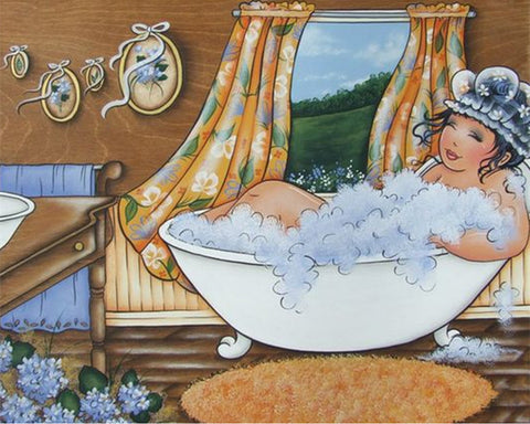 Lady In Tub - Full Drill Diamond Painting - Specially ordered for you. Delivery is approximately 4 - 6 weeks.
