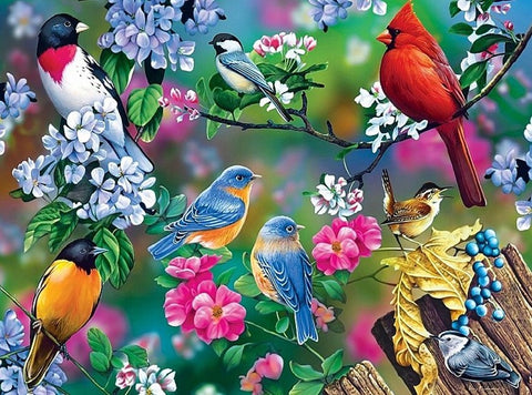 Lots of Birds - 61 x 91.5cm (poster size) Full Drill (square) Diamond Painting Kit - Currently in stock