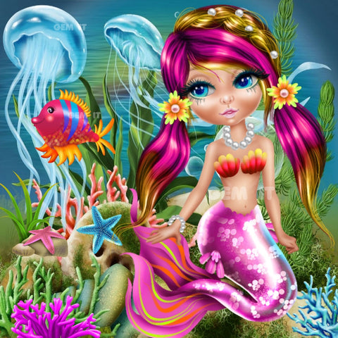 Mermaid Pink 2020-08.  Full Drill Diamond Painting - Specially ordered for you. Delivery is approximately 4 - 6 weeks.