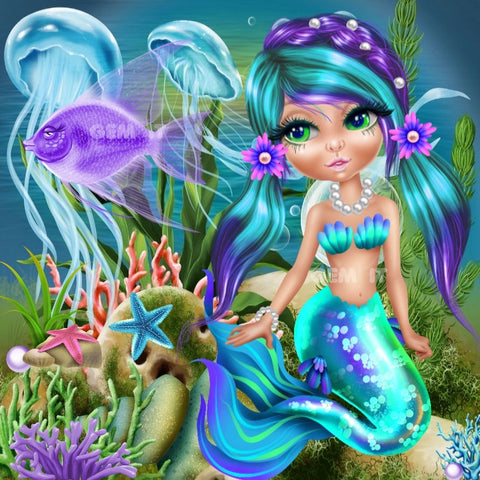 Mermaid Purple & Aqua 2020-09.  Full Drill Diamond Painting - Specially ordered for you. Delivery is approximately 4 - 6 weeks.