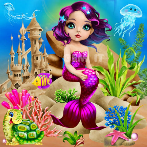 Mermaid Purple Castle 2020-11.  Full Drill Diamond Painting - Specially ordered for you. Delivery is approximately 4 - 6 weeks.