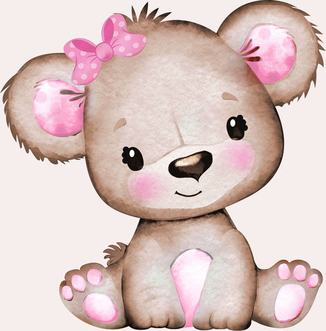 Baby Teddy Pink Girl Bow 02. Full Drill Diamond Painting - Specially ordered for you. Delivery is approximately 4 - 6 weeks.