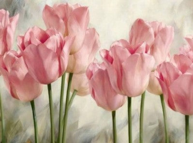 Pink Tulips- Full Drill Diamond Painting - Specially ordered for you. Delivery is approximately 4 - 6 weeks.