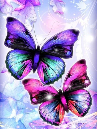 Pink and Blue Butterflies - 30 x 40cm Full Drill (square) - Diamond Painting Kit -  Currently in stock