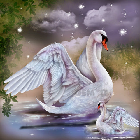 Swan and Baby - Full Drill Diamond Painting - Specially ordered for you. Delivery is approximately 4 - 6 weeks.